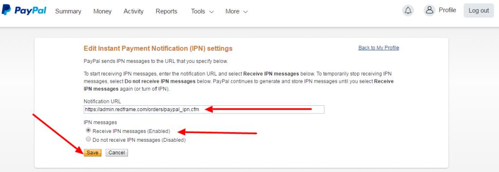 Paypal IPN URL