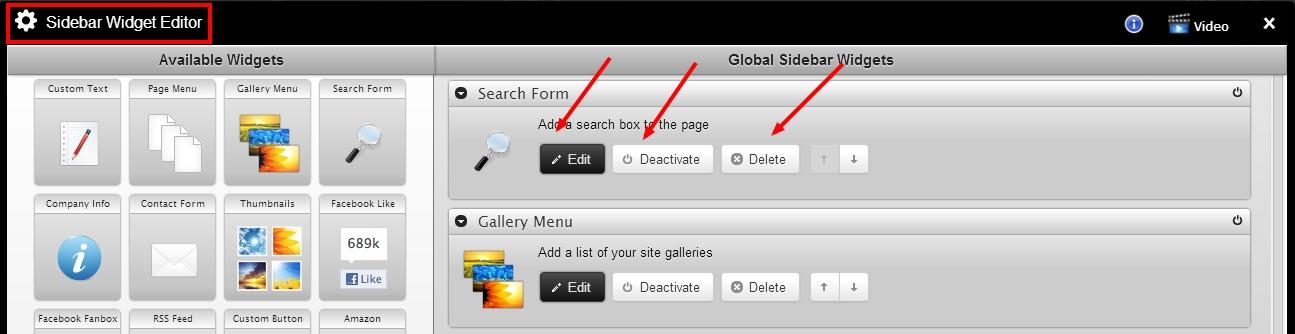 global sidebar widget editor