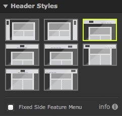 Header Layout Icons in the Header Styles Menu