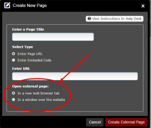 Create an external page