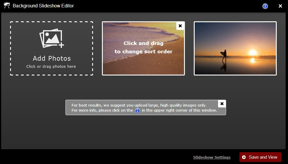 background slideshow editor