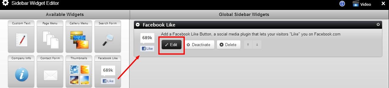edit sidebar widget