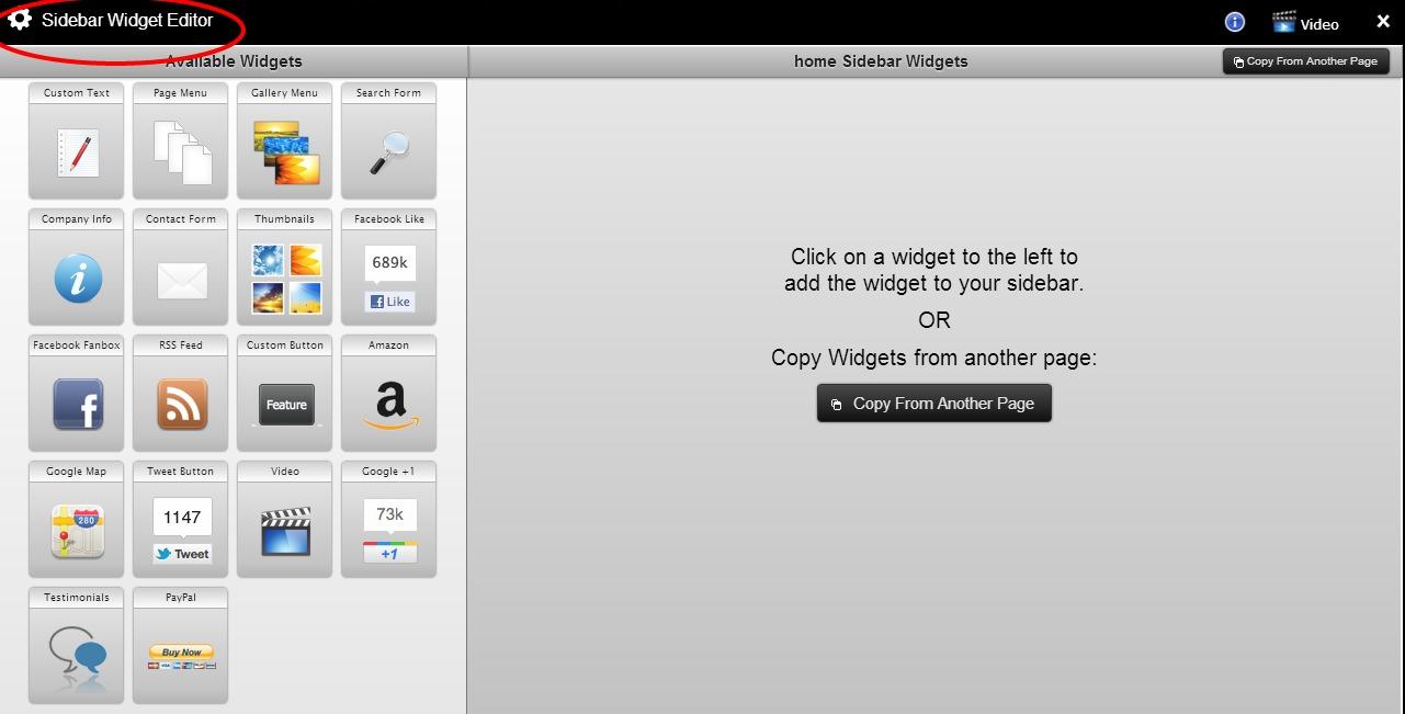 sidebar widget editor