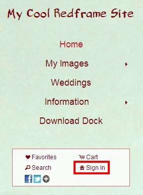 sign in feature menu